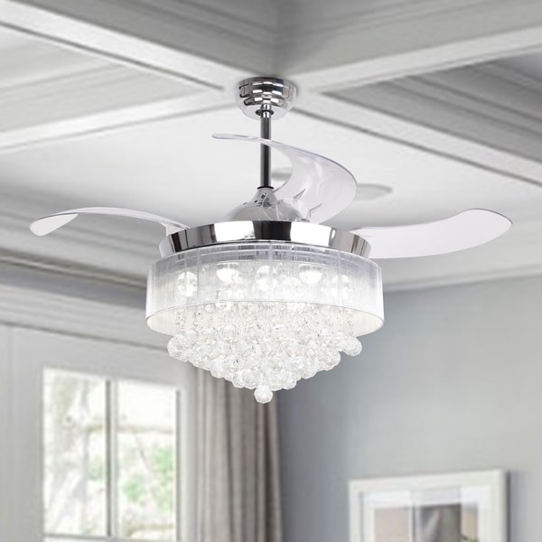 Shop 42 Inch Crystal Led Ceiling Fan 4 Blades Remote And Light Kit Included Free Shipping