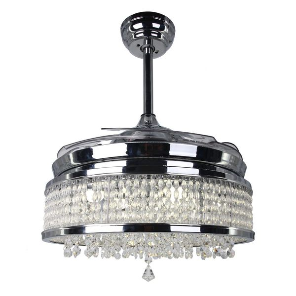 Shop Modern Crystal Led Ceiling Fan With Foldable Blades
