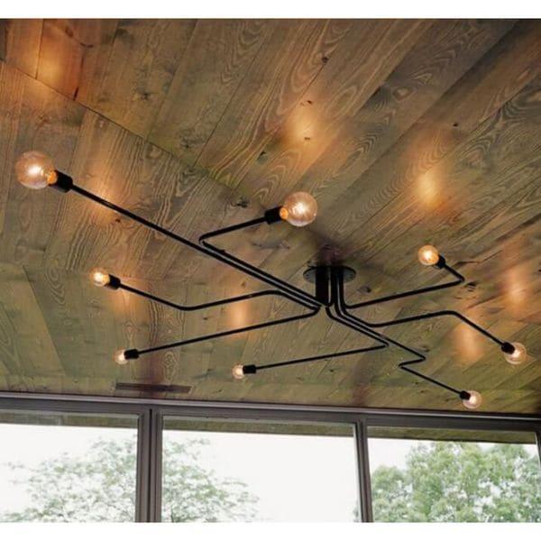 Edison Light Large Semi Flush Mount Ceiling Fixture Black