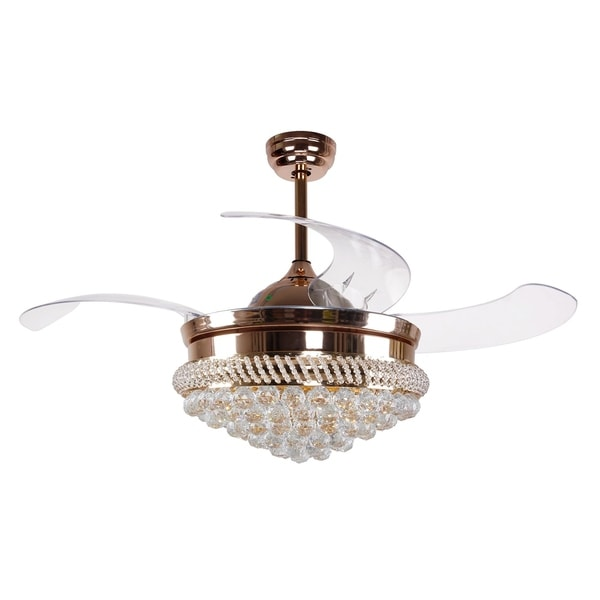 Shop Modern Crystal Led Ceiling Fans With Light Kit And