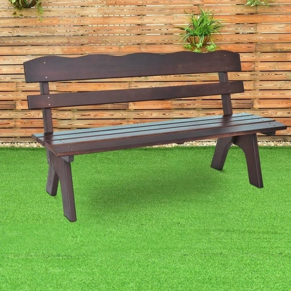 Exceptionnel 5Ft 3 Seats Outdoor Garden Bench Chair Wood Frame Yard Deck Furniture