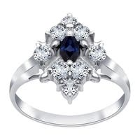 Sterling Silver 1.10 Carat Sapphire & Cubic Zirconia Ring - Blue/White
