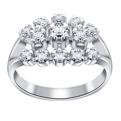 Cubic Zirconia Sterling Silver Round Cocktail Ring by Orchid Jewelry