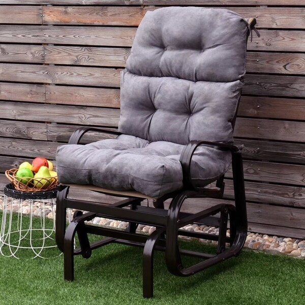 44 High Back Chair Cushion Tufted Pillow Outdoor Swing Seat Gray