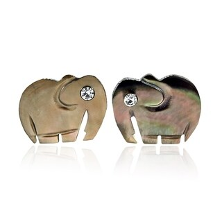 Cute Little Elephant from Hand Carved Shell Stud Earrings (Thailand)