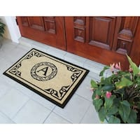 "A1 Home Collections First Impression Hand Crafted by Artisans Bleach Printed Monogrammed Doormat, 24""X36"""