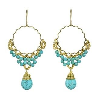 Link to Handmade Ornament Teardrop Stone Brass Dangle Earrings (Thailand) Similar Items in Earrings