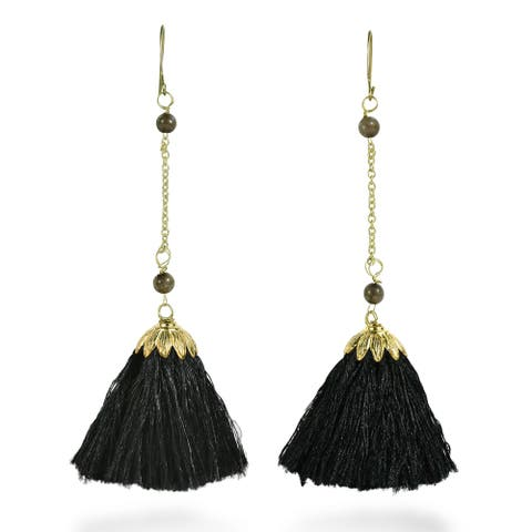 Dangling Tassels on Brass Chain with Stone Bead Accent Earrings