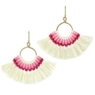 Chic Pair of Fan Shaped Pink & Creme Tassel Dangle Earrings (Thailand) - White-Pink