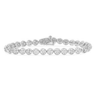 Sterling Silver 1.3ct TDW Rose Cut Diamond Link Bracelet (I-J,I2-I3)