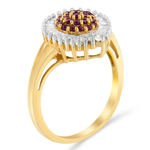 10K Yellow Gold 0.5ct TDW Round Treated Ruby Gemstone and Baguette Diamond Ballerina Cluster Ring (H-I ,SI1-SI2)