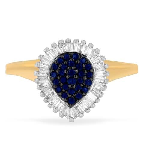 10K Yellow Gold 0.5ct TDW Round Treated Blue Sapphire Gemstone and Baguette Diamond Ballerina Cluster Ring (H-I ,SI1-SI2)