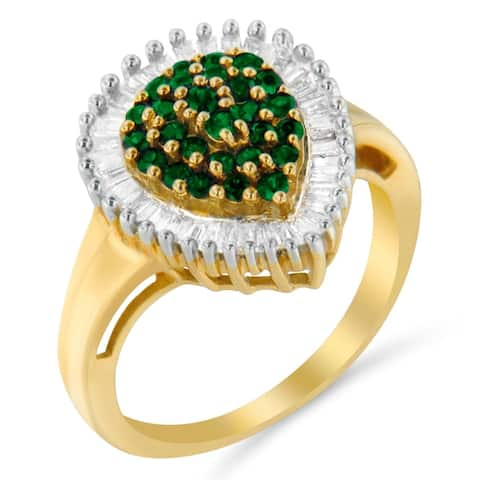 10K Yellow Gold 1ct TDW Round Treated Emerald Gemstone and Baguette Diamond Ballerina Cluster Ring (H-I ,SI1-SI2)