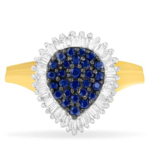 10K Yellow Gold 1ct TDW Round Treated Blue Sapphire Gemstone and Baguette Diamond Ballerina Cluster Ring (H-I ,SI1-SI2)