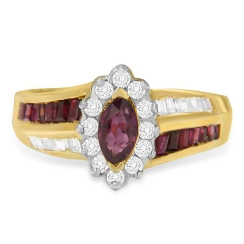 10K Yellow Gold 0.9ct TDW Diamond and Ruby Ring (I-J ,I2-I3)