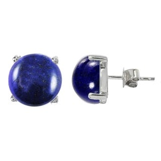 Sterling Silver Round Lapis Solitaire Stud Earrings