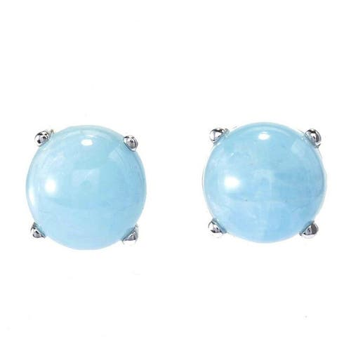 Sterling Silver with 10mm Cabochon Aquamarine Stud Earrings