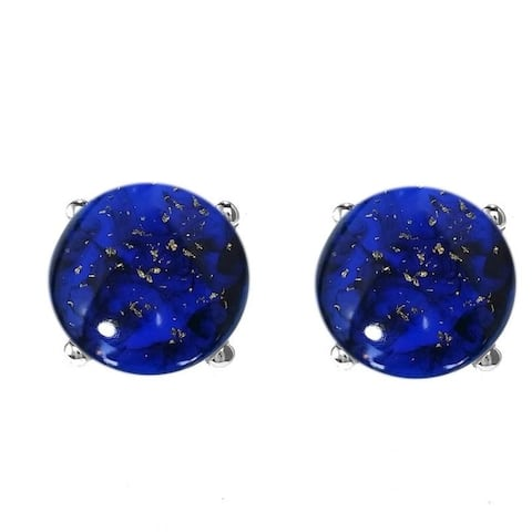 Sterling Silver 10mm Cabochon Lapis Stud Earrings