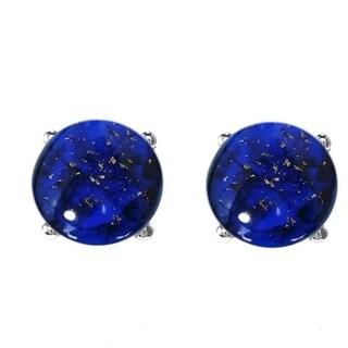 Sterling Silver Lapis 10mm Ball Stud Earrings