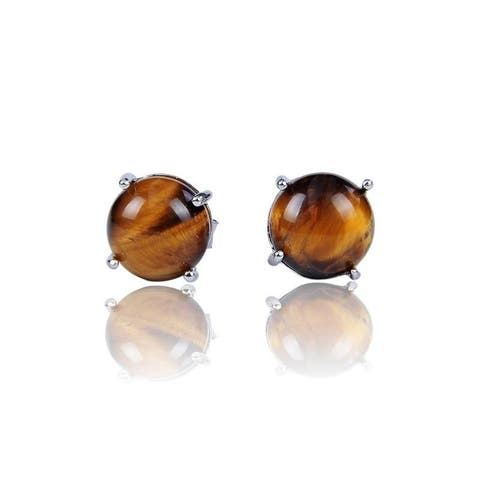 Sterling Silver with 8mm Cabochon Tiger Eye Stud Earrings