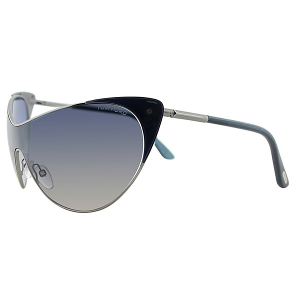 83ca390348f7 Tom Ford Cat-Eye TF 364 89W Womens Blue and Silver Frame Grey Gradient Lens