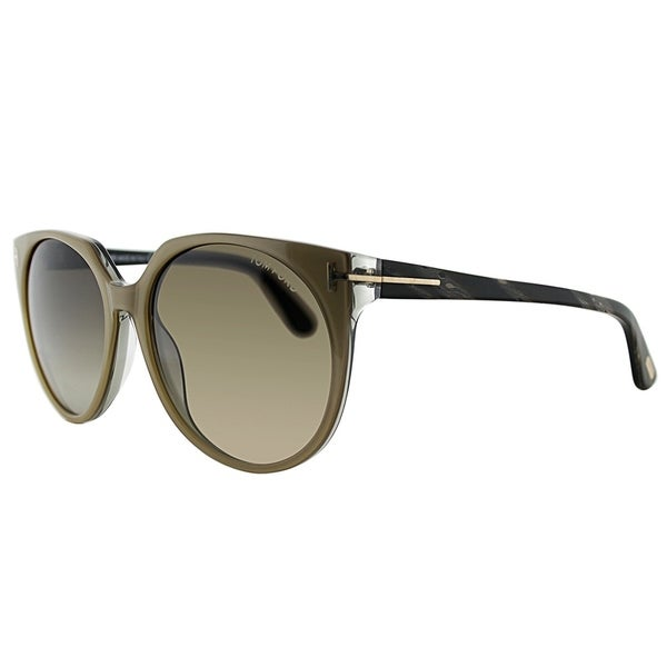 Tom Ford Square FT 0370 38B Womens Beige Frame Brown Gradient Lens Sunglasses