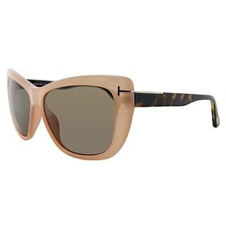 Tom Ford Cat-Eye FT 0434 72J Womens Light Pink Frame Brown Lens Sunglasses