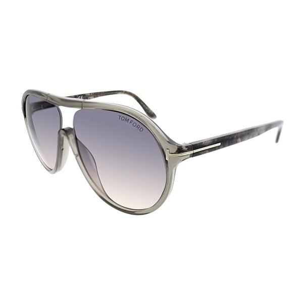 f44c065e9d6 Tom Ford Aviator FT 443 20B Unisex Transparent Grey Frame Grey Gradient Lens  Sunglasses