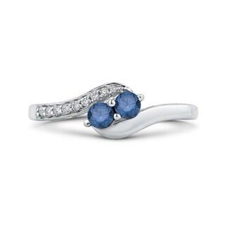 14K White Gold 1/3ct TDW Two-Stone Blue and White Diamond Ring (G-H, I2-I3)