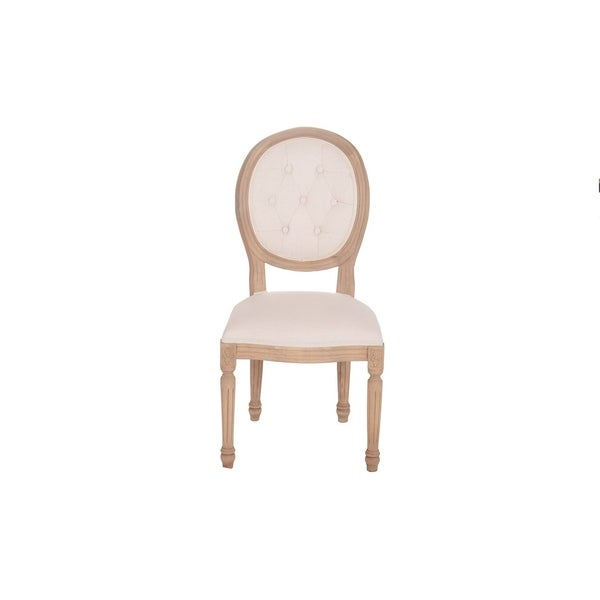French Round Upholstered Tufted Dining Room Chair by Generic