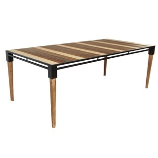 W Medley Two-tone Metal/Wood 87-inch Mid-century Dining Table