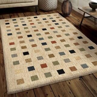 Carolina Weavers Soft Plush Collection City Boxes Tan Shag Area Rug (7'10 x 10'10) (As Is Item)