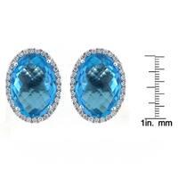 18k White Gold 0.37ct Diamond and 11.98ct TGW Blue Topaz Gemstone Stud Earrings (G-H,SI2-I1)