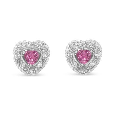Sterling Silver 0.37ct TDW Pink Sapphire and Diamond Heart Shape Earrings (I-J,I2-I3)