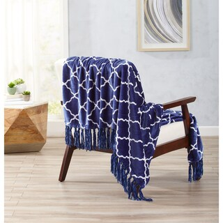 Great Bay Home Ultra Velvet Plush Throw Blanket with Lattice Print and Decorative Fringe (2 options available)