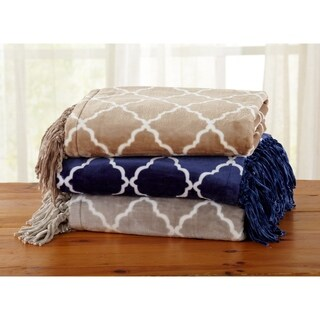 Great Bay Home Ultra Velvet Plush Throw Blanket with Lattice Print and Decorative Fringe