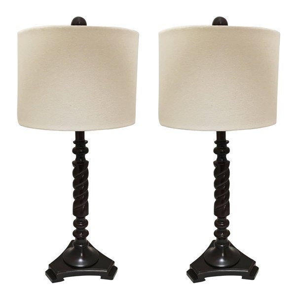 "Royal Designs Set of 2 Wooden Table Lamps with Linen Eggshell Hard Back Lamp Shade - 28"" Tall"