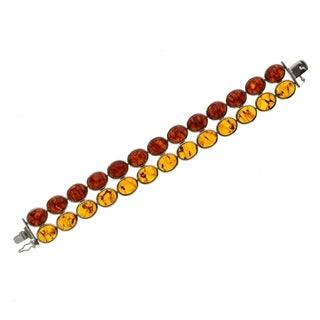Pangea Mines Round Amber stone Bracelet - Orange/Red
