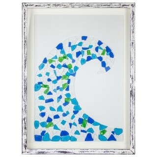Ocean Wave Stained Glass Mosaic Framed Wall Art