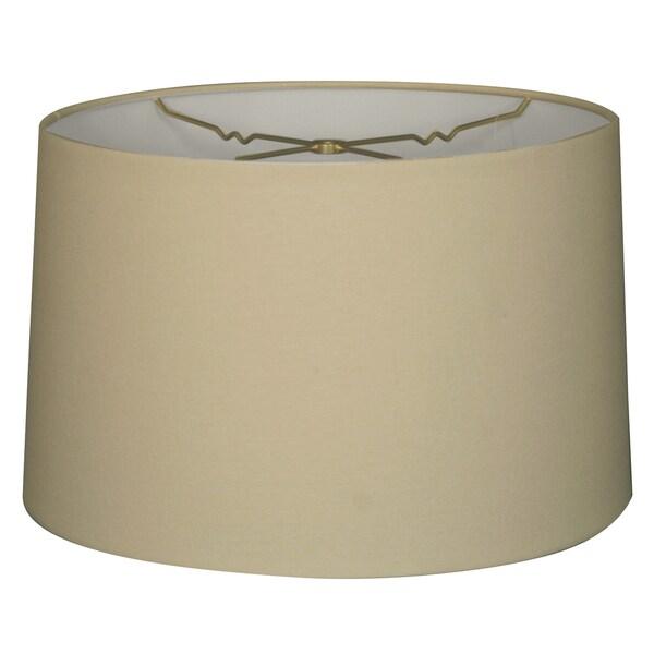 "Royal Designs 14"" Shallow Drum Hardback Lampshade, Linen Eggshell, 13 x 14 x 9 (HB-610-14LNEG)"