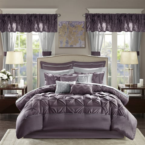 Madison Park Essentials Loretta Plum Comforter 24 Piece Room in a Bag