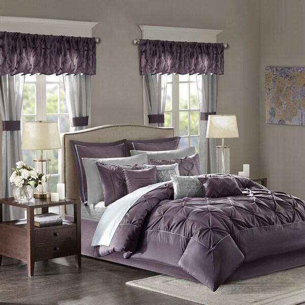 Madison Park Essentials Loretta Plum Comforter 24 Piece Room In A Bag