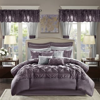Madison Park Essentials Loretta Plum 24-piece Room in a Bag with Window Panels and Sheet Set