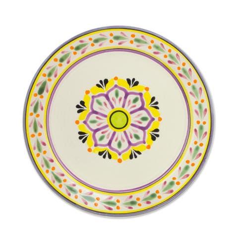 Majolica Ceramic Dinner Plates, 'Mexican Lavender' (Pair) (Mexico)