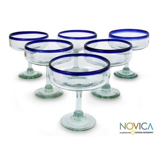 Margarita Glasses, 'Mexican Happy Hour' ( Set Of 6) (Mexico)