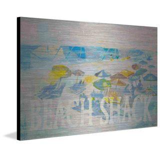 'Beach Shack Umbrellas' Painting Print on Brushed Aluminum