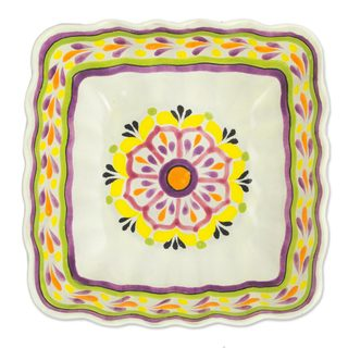 Majolica Ceramic Serving Bowl, 'Square Mexican Lavender' (Mexico)