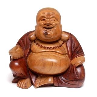 Handmade Wood Sculpture, Buddha Laughs (Indonesia)
