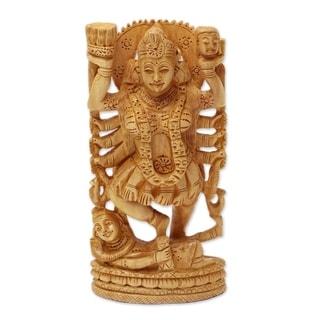 Handmade Kali Goddess Of Destruction Wood Sculpture (India)