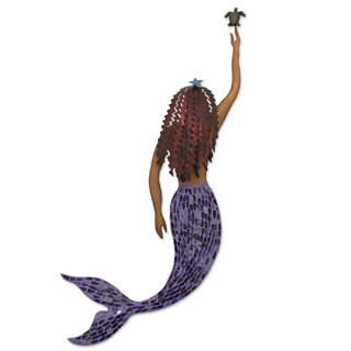 Iron And Glass Mosaic Wall Sculpture, 'Mermaid And Turtle' (Mexico)
